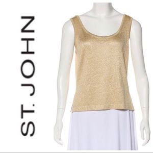 •St. John• Gold Metallic Knit Tank Top